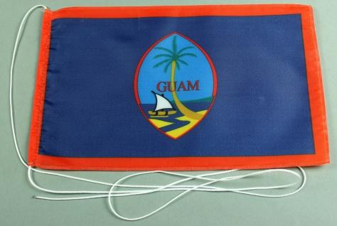 Tischflagge Guam 25x15 cm optional mit Holz- oder Chromständer Tischfahne Tis...