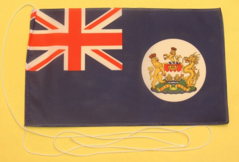 Tischflagge Hong Kong vor 1997 25x15 cm optional mit Holz- oder Chromständer ...