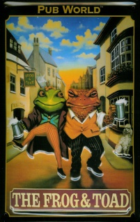 Blechschild Nostalgieschild Frog and Toad London Pub Frosch