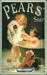 Blechschild Pears Soap Kinder Badewanne Seife Schild retro Werbeschild Nostal...