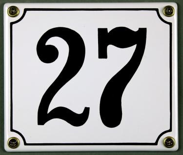Hausnummernschild 27 weiß 12x14 cm sofort lieferbar Schild Emaille Hausnummer...