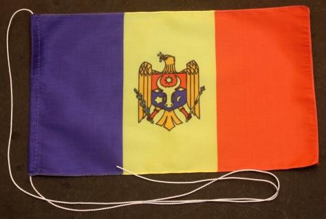 Tischflagge Moldawien 25x15 cm optional mit Holz- oder Chromständer Tischfahn...