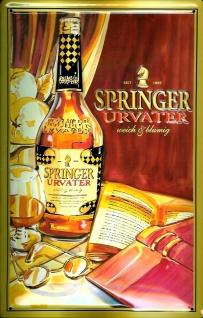 Blechschild Springer Urvater Schild Weinbrand Brandy Werbeschild Nostalgieschild