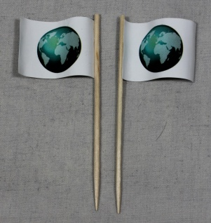 Party-Picker Flagge Globus Weltkugel Papierfähnchen in Spitzenqualität 50 Stü...