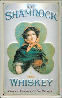Blechschild Shamrock Whiskey Belfast Schild Werbeschild Nostalgieschild