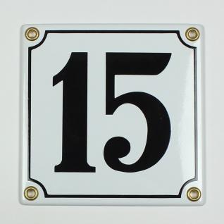 15 weiß 12x12 cm sofort lieferbar Schild Emaille Hausnummer