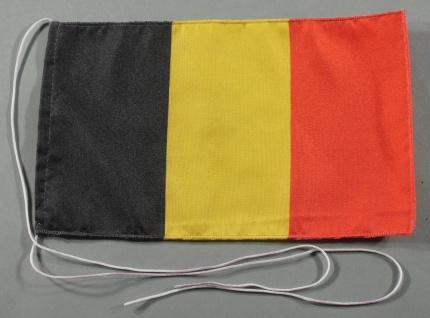 Tischflagge Belgien 25x15 cm optional mit Holz- oder Chromständer Tischfahne ...