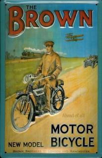 Blechschild Brown Motor Bicycles Motorrad Nostalgieschild Schild Moped Eisenbahn
