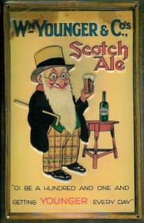 Blechschild Younger Scotch Ale Beer Bier Reklame Schild retro Werbeschild