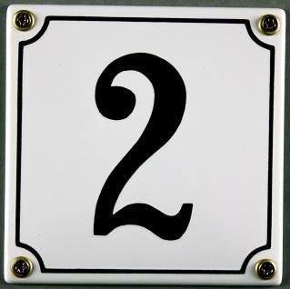 Hausnummernschild 2 weiß 12x12 cm sofort lieferbar Schild Emaille Hausnummer ...