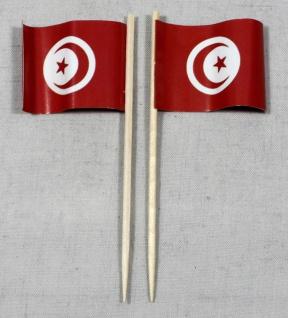 Party-Picker Flagge Tunesien Papierfähnchen in Spitzenqualität 50 Stück Beutel