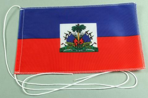 Tischflagge Haiti 25x15 cm optional mit Holz- oder Chromständer Tischfahne Ti...