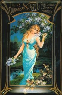 Blechschild 4711 Eau de Cologne Frau mit Blumen Kosmetik kölnisch Wasser Schi...