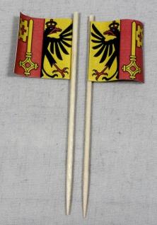 Party-Picker Flagge Genf Kanton Schweiz Papierfähnchen in Spitzenqualität 50 ...