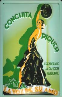Blechschild Nostalgieschild Conchita Piquer Tänzerin Spanien