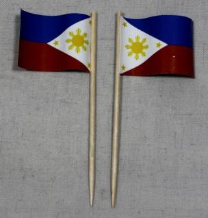 Party-Picker Flagge Philippinen Papierfähnchen in Spitzenqualität 50 Stück Be...