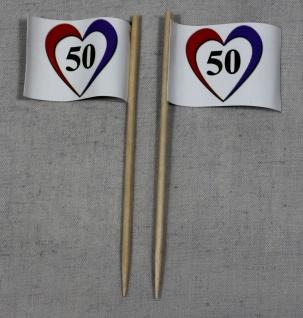 Party-Picker Flagge Herz 50 Goldene Hochzeit Papierfähnchen in Spitzenqualitä...