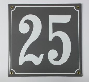 25 Dunkelgrau 25x25 cm sofort lieferbar Schild Emaille Hausnummer