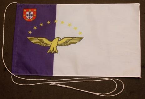 Tischflagge Azoren 25x15 cm optional mit Holz- oder Chromständer Tischfahne T...