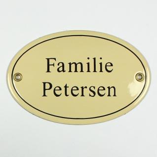 Familie Petersen cream / schwarz oval 15x10 cm sofort lieferbar Schild Emaill...