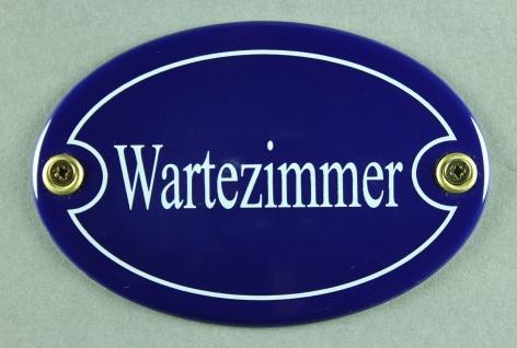 Emaille Türschild Wartezimmer blau oval Schild Emailleschild Metallschild Ble...