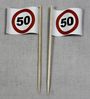 Party-Picker Flagge Tempo 50 Verkehrszeichen Papierfähnchen in Spitzenqualitä...