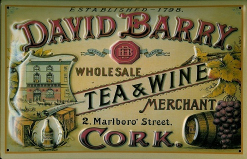 Blechschild David Barry Tea and Wine Cork Tee Reklame Schild Nostalgieschild - Vorschau