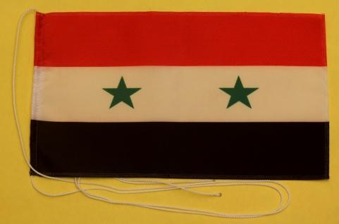 Tischflagge Syrien 25x15 cm optional mit Holz- oder Chromständer Tischfahne T...