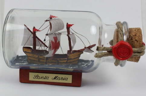 Santa Maria mit Kreuz rundes Gewürzglas 0, 25 Liter Buddelschiff Flaschenschiff