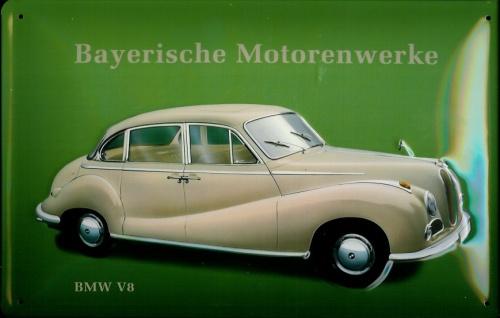 Blechschild BMW V8 Nostalgieschild Oldtimer Auto retro Schild Werbeschild