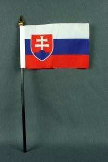 Kleine Tischflagge Slowakei 10x15 cm optional mit Tischfähnchenständer