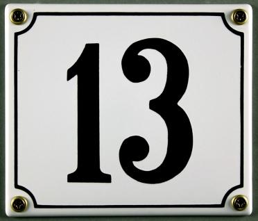 Hausnummernschild 13 weiß 12x14 cm sofort lieferbar Schild Emaille Hausnummer...