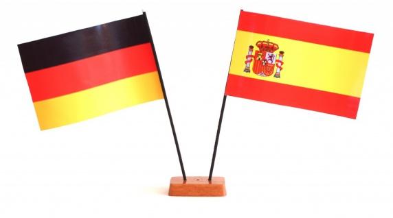 Mini Tischflagge Spanien 9x14 cm Höhe 20 cm mit Gratis-Bonusflagge und Holzso...