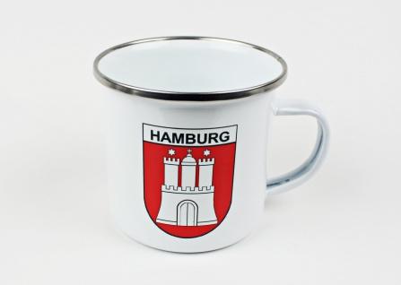 Emaille Becher Hamburg Wappen rot Tasse Kaffee Becher Emaillebecher