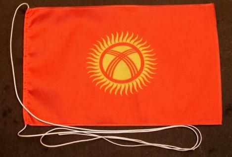 Tischflagge Kirgistan 25x15 cm optional mit Holz- oder Chromständer Tischfahn...