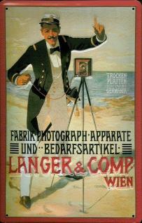 Blechschild Nostalgieschild Langer Comp. Wien Kamera 1 - Vorschau