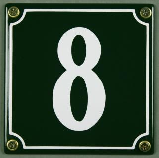 Hausnummernschild 8 grün 12x12 cm sofort lieferbar Schild Emaille Hausnummer ...