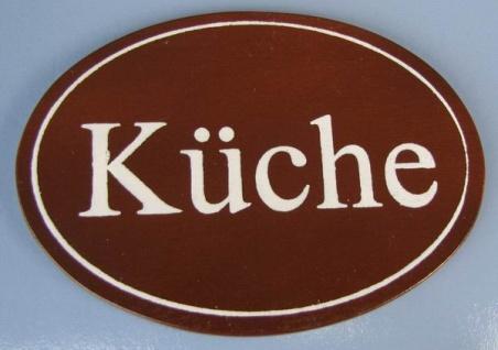 Ovales Holz - Türschild Küche 7x10 cm dunkles Holzschild