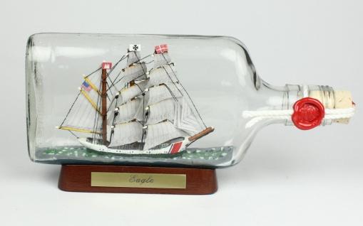 Eagle US Coastguard Buddelschiff Flachmann 0, 375 Liter ca. 21x9 cm Flaschensc...