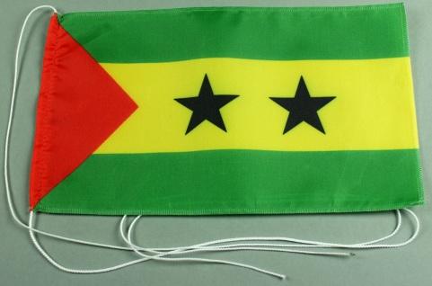 Tischflagge Sao Tome und Principe 25x15 cm optional mit Holz- oder Chromständ...