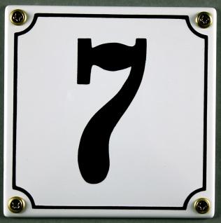 Hausnummernschild 7 weiß 12x12 cm sofort lieferbar Schild Emaille Hausnummer ...