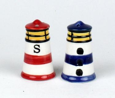 Maritime Leuchtturm Salz -/ Pfefferstreuer Salzstreuer 2-teilig blau und rot ... - Vorschau 3