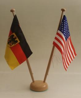 Tischflaggenständer Holz 2-fach Ständer für 2 Tischflaggen 15x25 cm Höhe 42 c...