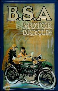Blechschild B.S.A. Motor Bicycles Motorrad Nostalgieschild Schild