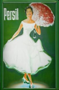 Blechschild Persil Frau mit Sonnenschirm grün Schild retro Werbeschild Nostal...