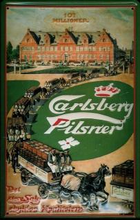 Blechschild Carlsberg Pilsner 107 Millioner Pferde Fuhrwerke Schild retro Wer... - Vorschau