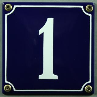 Hausnummernschild 1 blau - weiß 12x12 cm sofort lieferbar Schild Emaille Haus...