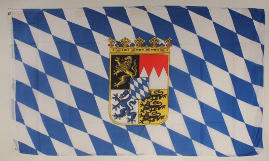 Flagge Fahne Bayern mit Wappen bayerische Bayernflagge