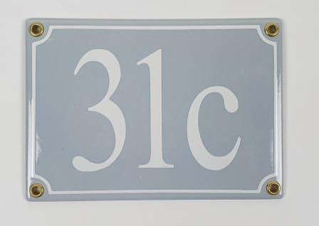 31c hellgrau / weiß Serif 17x12 cm sofort lieferbar 3-stellig Schild Emaille ...