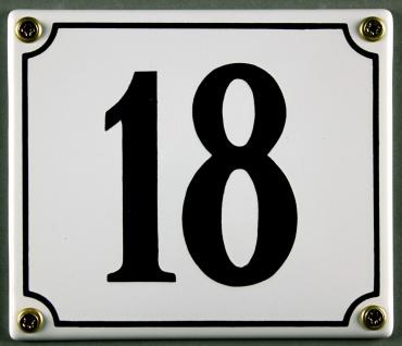 Hausnummernschild 18 weiß 12x14 cm sofort lieferbar Schild Emaille Hausnummer...